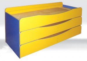 Кровать трехъярусная выкатная, широкий фасад волна, без тумбы 1480х650х800