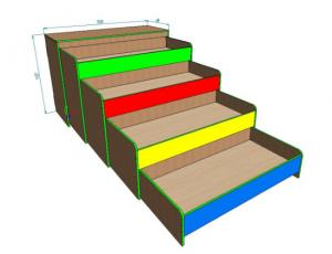 Кровать четырехъярусная выкатная с тумбой 1588х650х1130