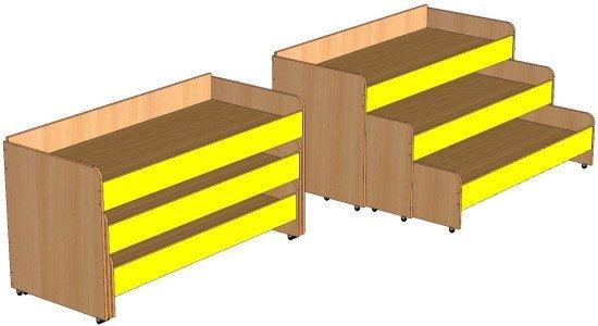 Кровать трехъярусная выкатная без тумбы 1480х650х800