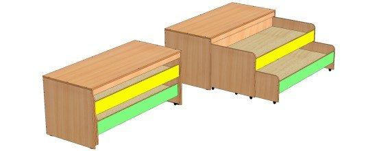 Кровать двухъярусная выкатная с тумбой 1480х650х800