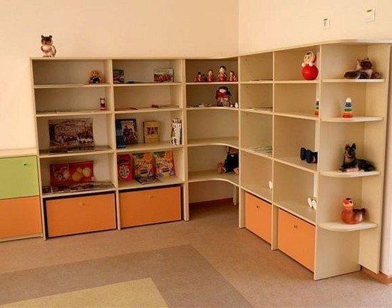 Стеллаж детский для игрушек угловой 2100х320х1900