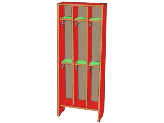 Шкаф для полотенец 3 секции, двухъярусный